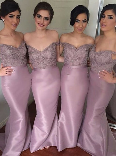 Off-the-Shoulder Mermaid Bridesmaid Dresses with Beading OB316