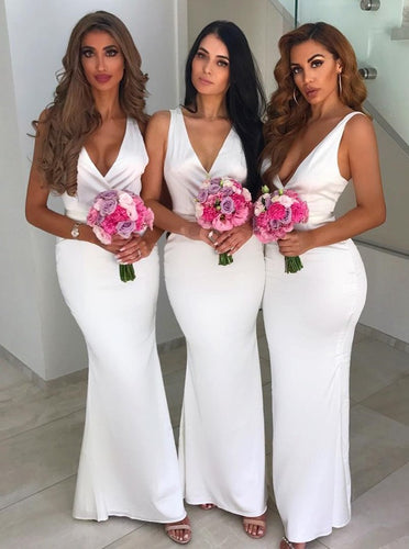 Sexy Mermaid V-Neck Floor-Length Elastic Satin Bridesmaid Dresses OB273