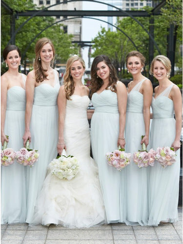 A-Line One-Shoulder Light Blue Long Bridesmaid Dresses with Ruched OB354