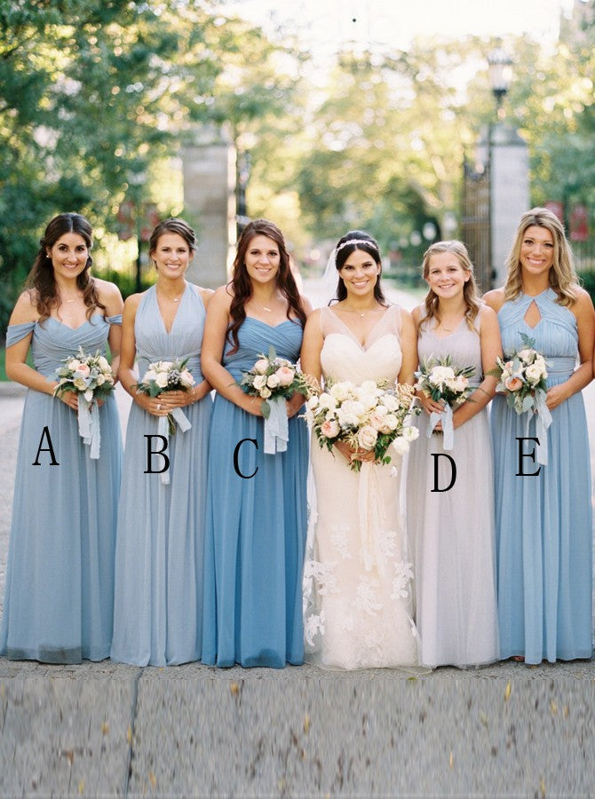 A-Line Simple Boho Blue Series Long Bridesmaid Dresses with Ruched OB350