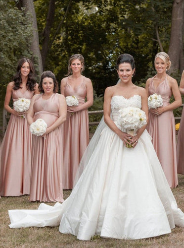 A-Line V-Neck Convertible Pink Long Bridesmaid Dresses OB349