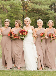 Sheath One-Shoulder Simple Long Bridesmaid Dress with Split OB346