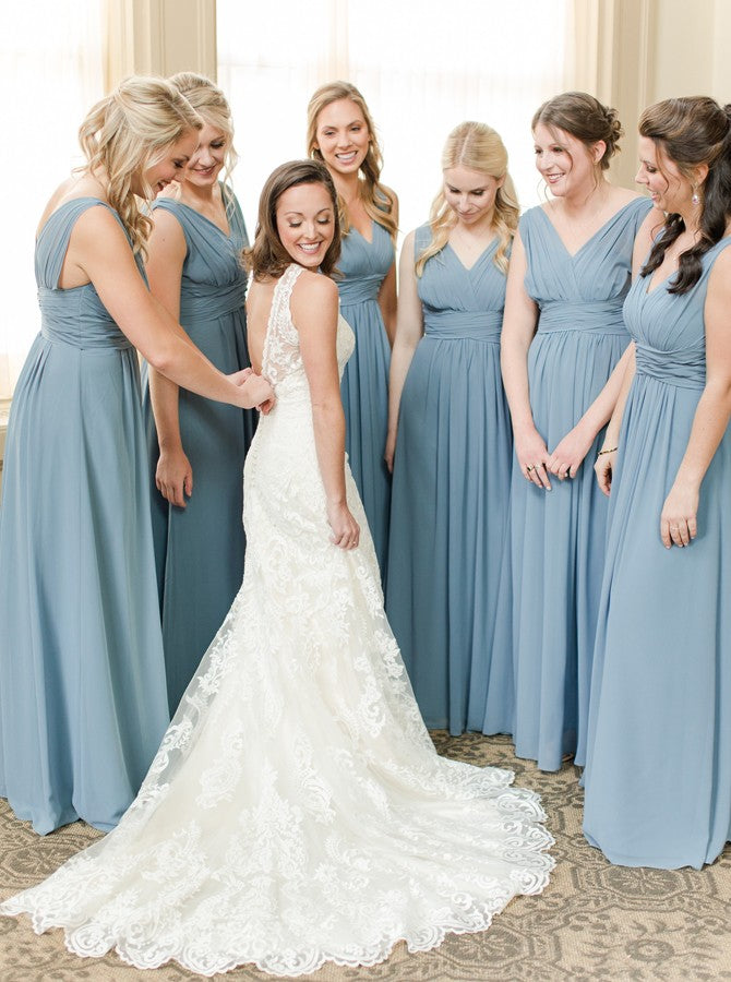 Dusty Blue A-Line V-Neck Chiffon Bridesmaid Dresses with Ruched OB263
