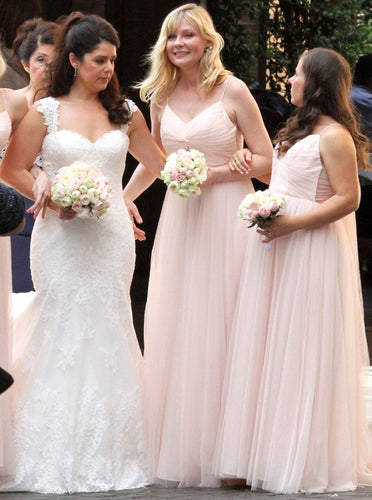 Spaghetti Straps Pearl Pink Bridesmaid Dresses with Ruched OB262