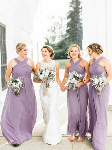 A-Line Cross Neck Lilac Chiffon Long Bridesmaid Dress with Ruched OB261
