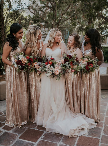 Sparkly A-Line V-Neck Sequined Rose Gold Bridesmaid Dresses OB269