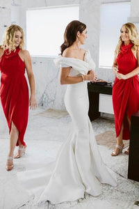 Cowl Neck Hi-Low Sheath Red Bridesmaid Dresses with Ruched OB268