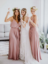 A-Line Spaghetti Straps Chiffon Pink Bridesmaid Dresses with Pleats OB267