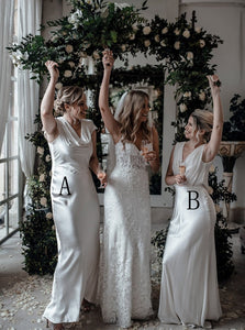 Cowl Neck Floor-Length Ivory Sleek Sheath Bridesmaid Dresses OB266