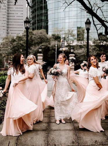 Short Sleeves Two Pieces Chiffon Bridesmaid Dresses with Lace OB319