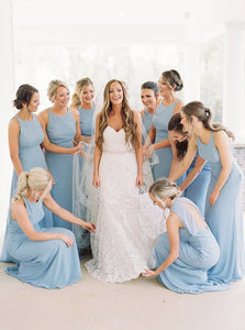 Round Neck Light Blue Sheath Sleeveless Bridesmaid Dresses OB320