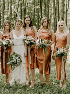 Simple Tea-Length Orange Sheath Bridesmaid Dresses with Split OB321