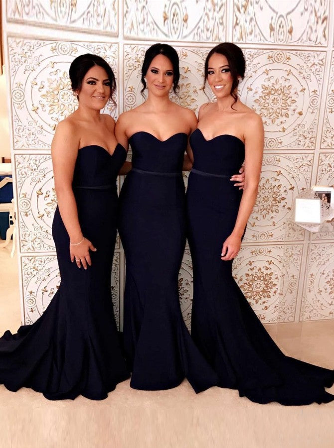 Sweetheart Mermaid Sleeveless Navy Blue Bridesmaid Dresses OB322