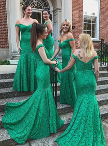 Off-the-Shoulder Mermaid Green Lace Bridesmaid Dresses OB325