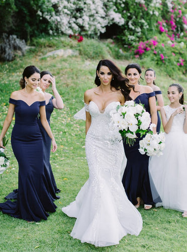 Off-the-Shoulder Satin Mermaid Dark Blue Bridesmaid Dresses OB326