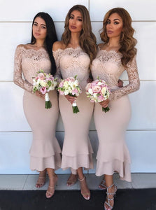 Mermaid Off-Shoulder Lace Long Sleeves Hi-Low Bridesmaid Dresses OB254