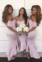 Mermaid Off-Shoulder Lace Short Sleeves Hi-Low Bridesmaid Dresses OB255