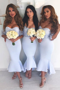 Mermaid/Trumpet Off-Shoulder Prom Dress, Lace Drop Sleeves Bodice Satin Bridesmaid Dress, OB128
