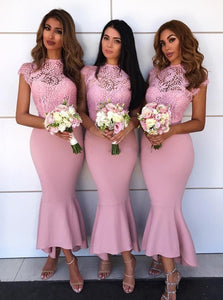 Mermaid Jewel Lace Cap Sleeves Hi-Low Asymmetry Pink Bridesmaid Dresses OB256