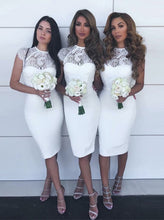 Sheath Jewel Lace Cap Sleeves Knee-Length White Bridesmaid Dresses OB257