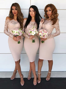 Off-Shoulder Lace Long Sleeves Knee-Length Sheath Bridesmaid Dresses OB258