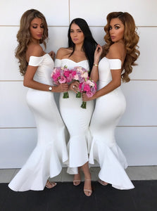 Off-Shoulder Short Sleeves Hi-Low White Mermaid Bridesmaid Dresses OB259
