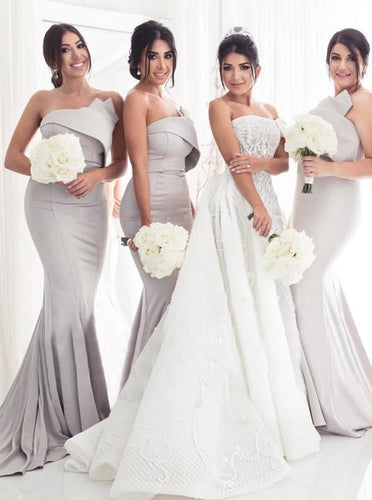 Mermaid Strapless Light Grey Bridesmaid Dresses with Ruffles OB328