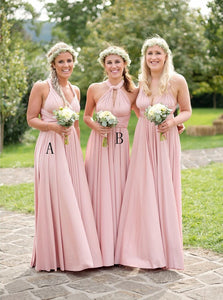 A-Line V-Neck Floor-Length Pink Bridesmaid Dresses with Pleats OB272