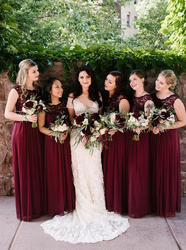 A-Line Chiffon Burgundy Bridesmaid Dresses with Lace Top OB329