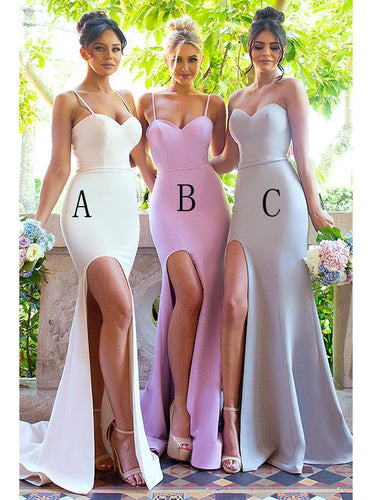 Simple Spaghetti Straps Sweetheart Mermaid Bridesmaid Dresses with Split OB335
