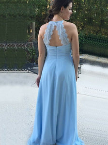 Round Neck Open Back Light Blue Bridesmaid Dress with Ruched OB333