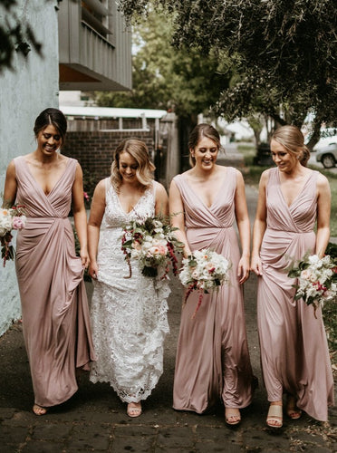 Sheath V-Neck Long Blush Bridesmaid Dresses With Ruched OB338