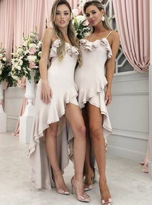 Spaghetti Straps Asymmetry Hi-Low Bridesmaid Dresses with Ruffles OB339