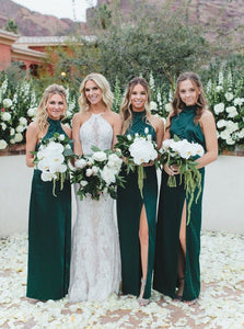 Simple Sheath High Neck Dark Green Long Bridesmaid Dresses with Split OB341