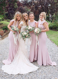 Mermaid Round Neck Cap Sleeves Pink Bridesmaid Dresses with Ruffles OB344