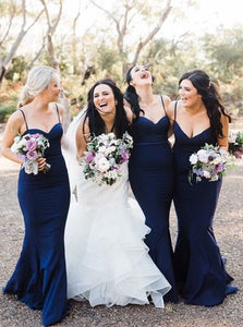 Mermaid Spaghetti Straps Navy Blue Bridesmaid Dresses OB342