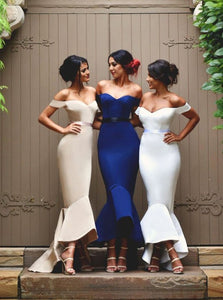 Off-the-Shoulder Ribbon Waist Sexy Satin Mermaid Bridesmaid Dress, OB100