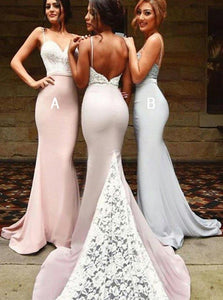 Sexy Spaghetti Straps White Lace Backless Chiffon Mermaid Bridesmaid Dresses, OB101