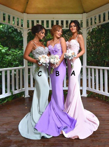 Spaghetti Straps Appliques Mermaid Backless Bridesmaid Dresses OB284