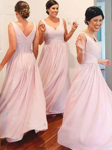 A-Line V-Neck Ruched Pink Chiffon Long Bridesmaid Dresses OB363