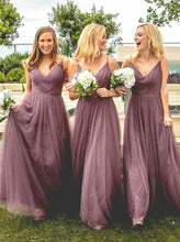 Light Purple A-Line Pleated Floor-Length Spaghetti Straps Tulle Bridesmaid Dress, OB108