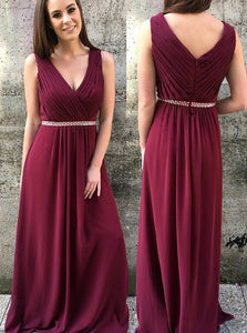 Maroon V-Neck V Back Pleated Beading Zipper Up Chiffon Bridesmaid Dress, OB110