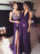 Elegant Cheap A/B Pattern Grape Chiffon Prom Dress with Side Slit, OB115