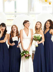 A-Line V-neck Chiffon Navy Blue Long Bridesmaid Dresses, OB132