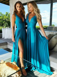 Sexy Plunging Neck Satin Chiffon Long Evening Bridesmaid Dress with Split OB141