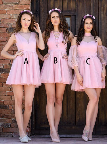 Sexy A/B/C Pattern Bateau Pleats Pink Tulle Short Bridesmaid Dress, OB116