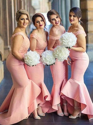 Mermaid Off-Shoulder V-neck Lace Bodice Satin Asymmetry Pink Bridesmaid Dresses, OB133
