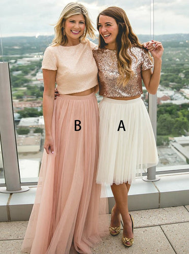 Tulle Two Piece A/B Pattern Round Neck Short Sleeves Long/Short Bridesmaid Dress, OB118