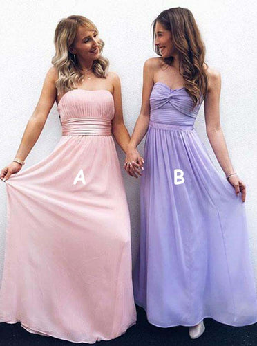 A-Line Strapless Pink/Lavender A/B Pattern Pleated Long Chiffon Bridesmaid Dress, OB122
