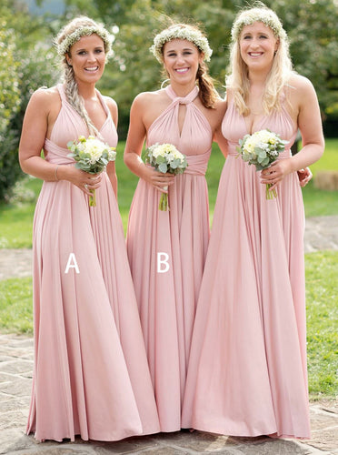 Blush Pink A/B Pattern Satin Pleated Convertible Long Bridesmaid Dresses, OB120